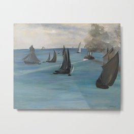 Édouard Manet - Steamboat Leaving Boulogne Metal Print