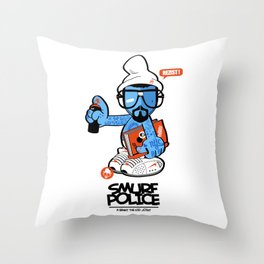 SMURF POLICE Throw Pillow