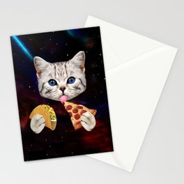 Space Cat with taco and pizza Stationery Cards