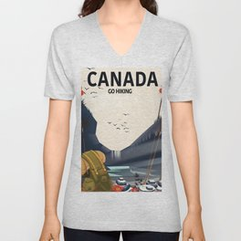 Canada - Go Hiking travel poster. Unisex V-Neck