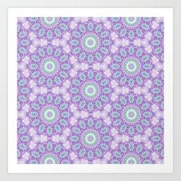 Lavender & Emerald Mandala Pattern Art Print