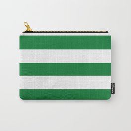 La Salle green - solid color - white stripes pattern Carry-All Pouch