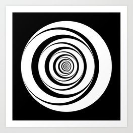 Black White Circles Optical Illusion Art Print
