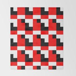 Red black step pattern Throw Blanket