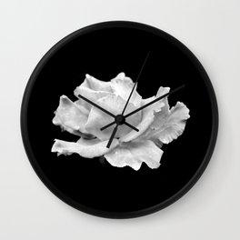White Rose On Black Wall Clock