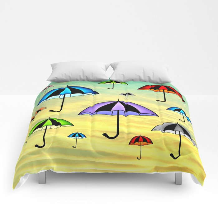 Colorful umbrellas flying in the sky Comforters