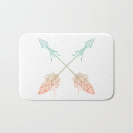 Arrows Turquoise Coral on White Bath Mat