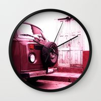 vw bus Wall Clocks featuring VW Bus 17B by Julia Aufschnaiter