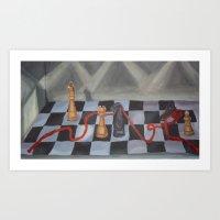 chess Art Prints featuring Chess by Lark Nouveau Studio