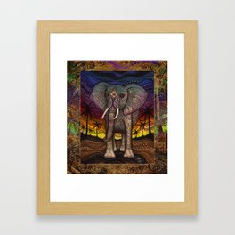 Elephant Sunset by Julie Oakes Framed Art Print