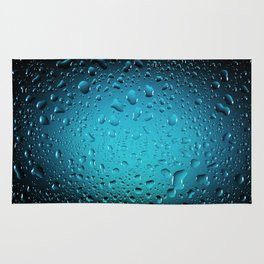 Stylish Cool Blue water drops Rug
