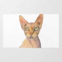 Sphynx Cat Watercolor Portrait Rug