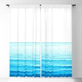 Blue Ocean Illustration Blackout Curtain