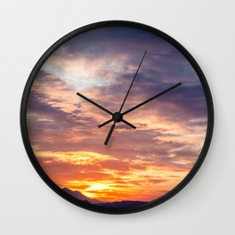 Sunset in the bay of Naples, Italy Wall Clock