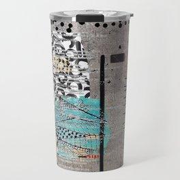 Grey Teal Abstract Art  Travel Mug