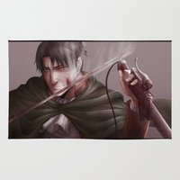 shingeki no kyojin Area & Throw Rugs featuring Shingeki no Kyojin - Levi by Paleblood