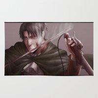 levi Area & Throw Rugs featuring Shingeki no Kyojin - Levi by Paleblood