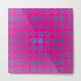 Blue Flowers Pink Backgroud Metal Print