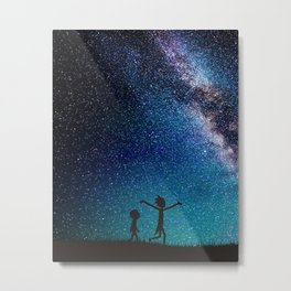 Rick morty galaxy blue Metal Print
