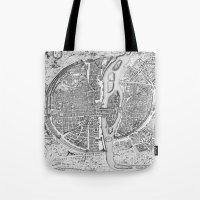 map Tote Bags featuring Paris map  by Le petit Archiviste