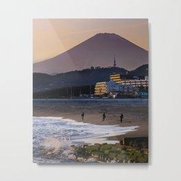 Japanese Fishermen at Sunset with Mount Fuji Metal Print