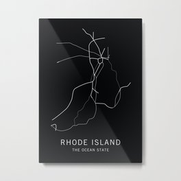 Rhode Island State Road Map Metal Print