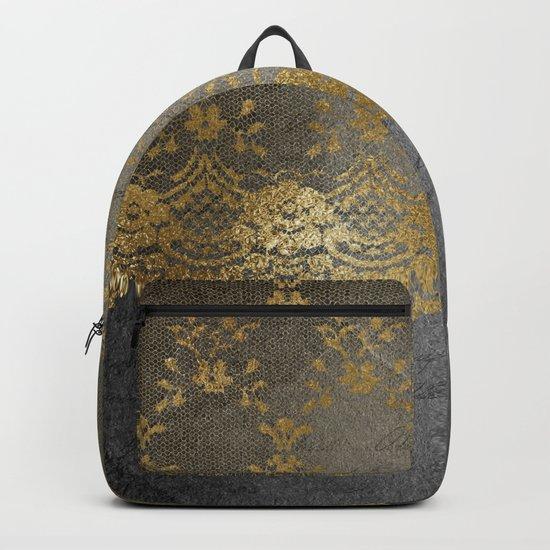 Pure elegance I- gold glitter luxury lace on black grunge background on #Society6 Backpack