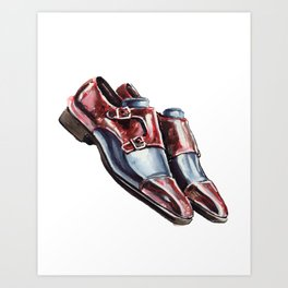 Collin Patina, Andres Sendra Double Monk Strap Shoes Art Print