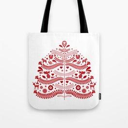 Red Scandinavian Folk Art Christmas Tree Tote Bag
