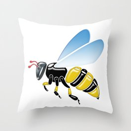 Three Dimensional 3D shiny Yellow and Black Bumble Bee Throw Pillow