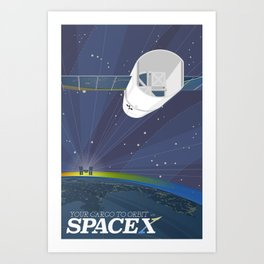 Your Cargo to Orbit, with SpaceX (borderless) Art Print