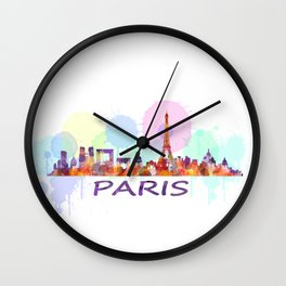 Paris City Skyline HQ, Watercolor Wall Clock
