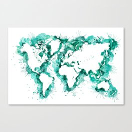 Watercolor splatters world map in teal Canvas Print
