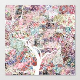 Washington map flowers Canvas Print