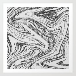 Modern abstract black and white glitter marble Art Print
