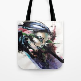 Futuristic Day of the dead girl with an emphasis on the color purple. Tote Bag