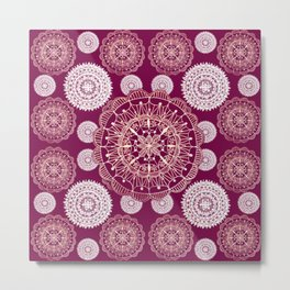 Berry and Bright Patterned Mandalas Metal Print