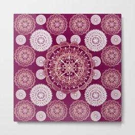 Berry and Bright Patterned Mandalas Metal Print