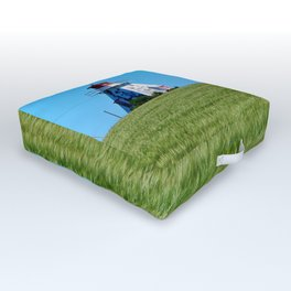 Lighthouse and the Crop Field Outdoor Floor Cushion