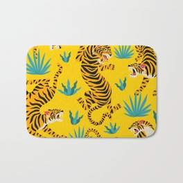Yellow Tiger Tropical Pattern Bath Mat