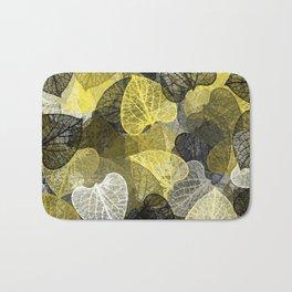 Black & Gold Leaf Abstract Bath Mat