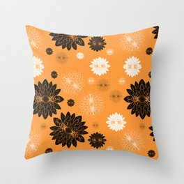 Antiqued Flowers Gold Throw Pillow