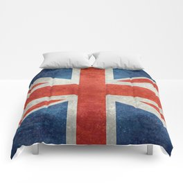 Union Jack flag, grungy retro 1:2 scale Comforters