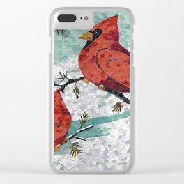 Cardinals In Winter Clear iPhone Case