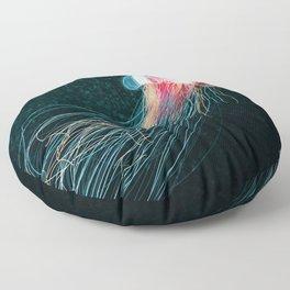 Jellyfish deep sea ocean creature illustration home decor drawing Floor Pillow