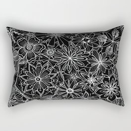 Floral Pattern Black and White Rectangular Pillow