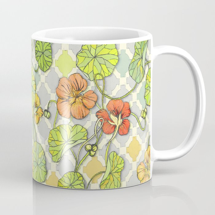 Climbing Nasturtiums in Lemon, Lime and Tangerine Coffee Mug