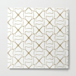 Gold and Cream Clovers Metal Print