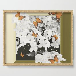 Hydrangea And Butterflies in Frame #decor #society6 Serving Tray
