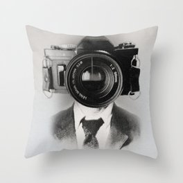 Faces of the Past: Camera _no stripes Throw Pillow